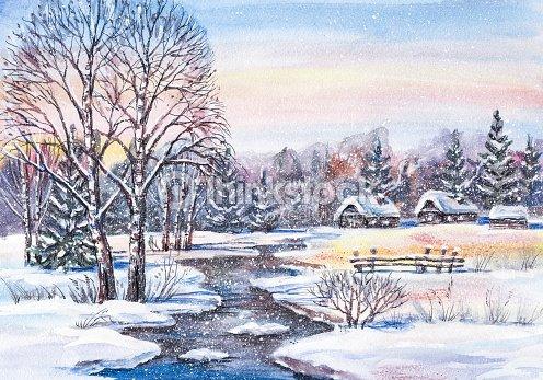 Paesaggio invernale nel villaggio russo illustrazione for Disegni paesaggio invernale