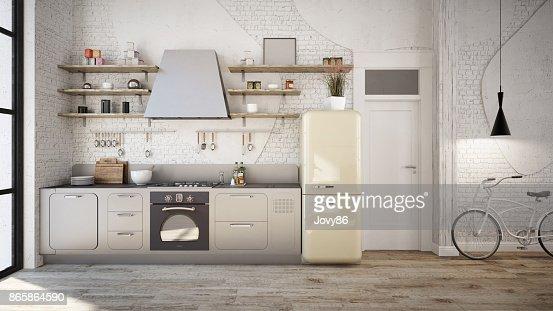 Rustic kitchen interior : Stock Illustration