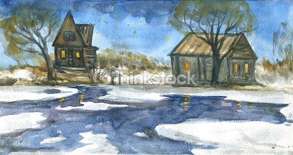 Rustic Winter Landscape Wooden House Near The River Watercolor Painting Stock Illustration