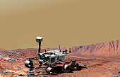 NASA's Mars Science Laboratory, a mobile robot for investigating Mars' past or present ability to sustain microbial life, is in development for a launch opportunity in 2009. This picture is an artist'