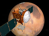 This illustration depicts a concept for NASA's Mars Telecommunications Orbiter in flight around Mars. The orbiter is in development to be the first spacecraft with a primary function of providing comm