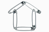 Safety pins in shape of house (Digital)