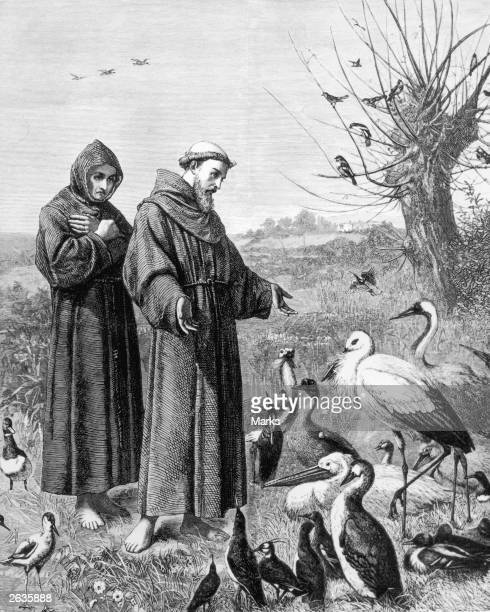 Saint Francis of Assisi founder of the Franciscan Order preaching to the birds circa 1215