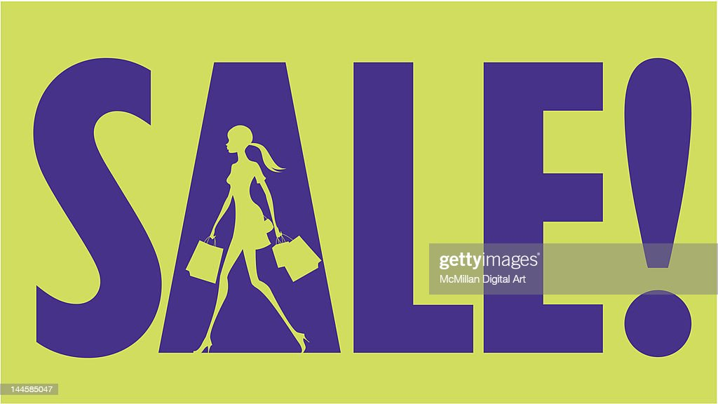 Sale text with woman carrying shopping bags : Vector Art