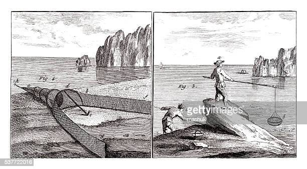 Saltwater fishing Industry on 1771 antique illustration