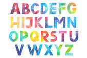 Sans Serif Gothic Grotesk alphabet drawing in color pencils.