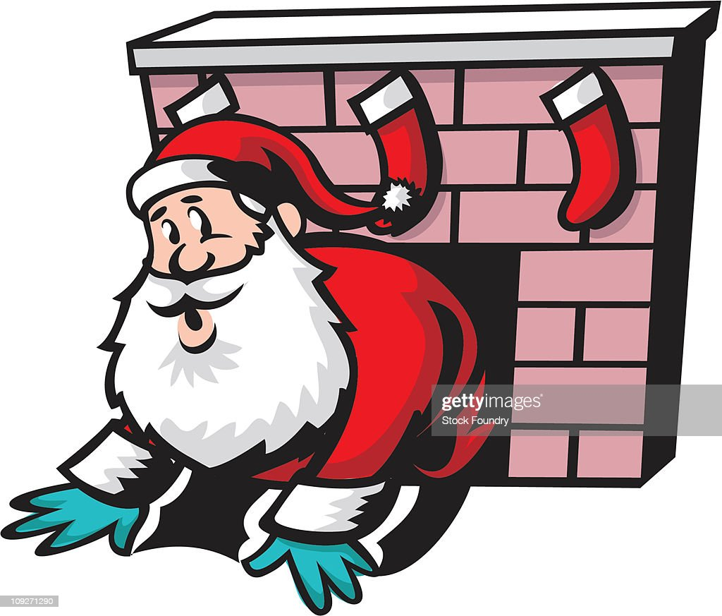 santa claus crawling out of fireplace stock illustration getty