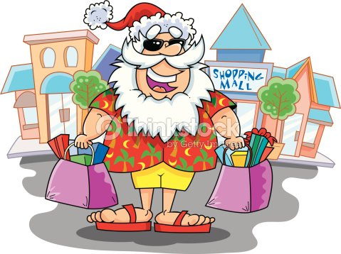 Santa Claus Dressed For Summer And Carrying Shopping Bags Outside