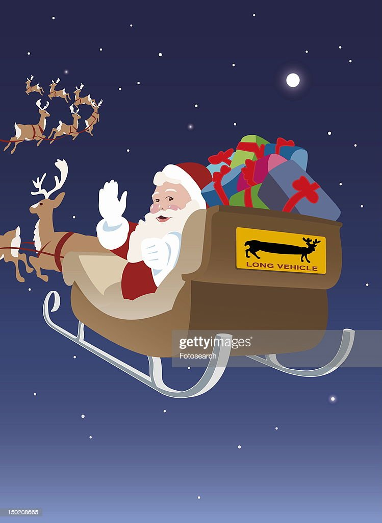 Santa Claus going into the night with his sleigh to distribute presents : Stock Illustration