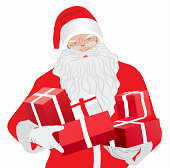 Santa Claus with gifts - Illustration