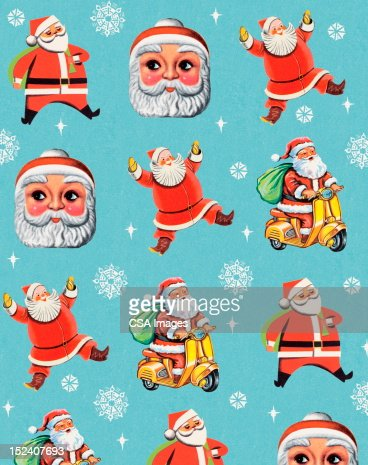 Santa Pattern With Snowflakes : Stock Illustration