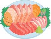 Sashimi combination platter, close-up, illustration