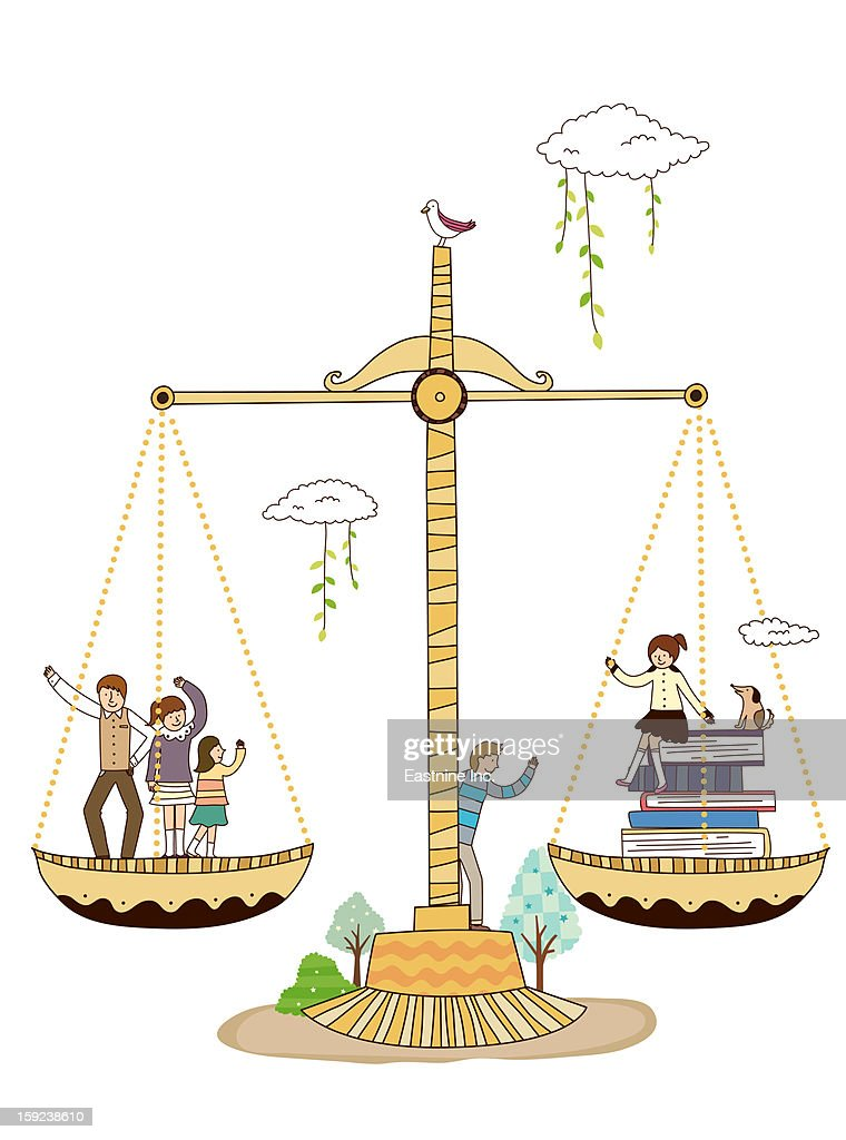 Scales and children : Stock Illustration