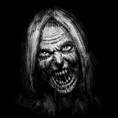 Scary zombie female face on black background. Illustration in horror genre.
