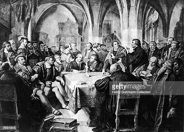 A scene from the Conversations at Marburg October 1529 Various leaders of the Reformation met in an attempt to reconcile the growing theological...