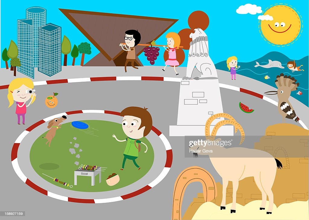 A scene showing people and animals doing various things : Stock Illustration