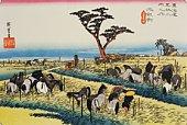 Scenery of Chiryu in Edo Period, Painting, Woodcut, Japanese Wood Block Print