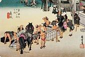 Scenery of Fujieda in Edo Period, Painting, Woodcut, Japanese Wood Block Print, High Angle View