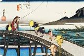 Scenery of Kakegawa in Edo Period, Painting, Woodcut, Japanese Wood Block Print