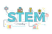 Illustration of STEM - science, technology, engineering, mathematics education word typography design with icons ornament elements