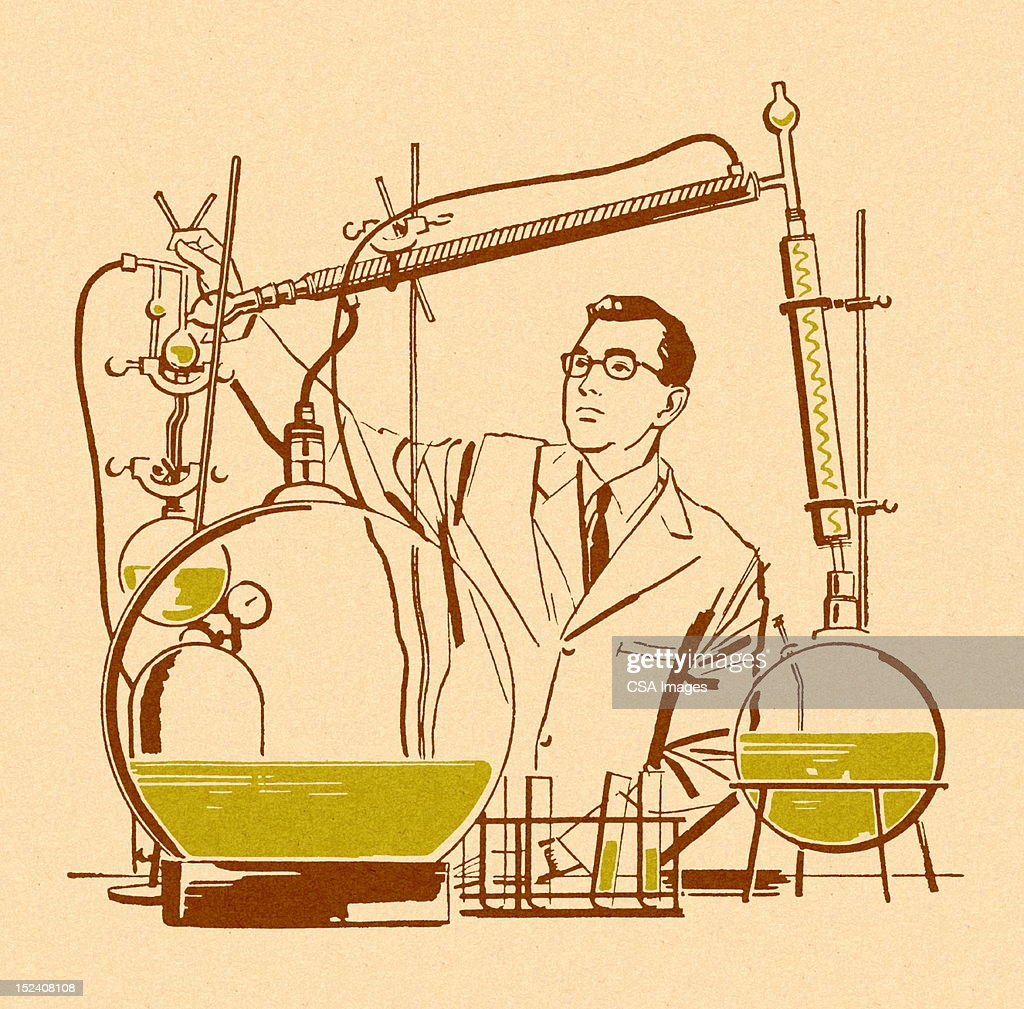 Scientist Working in Lab : Stock Illustration