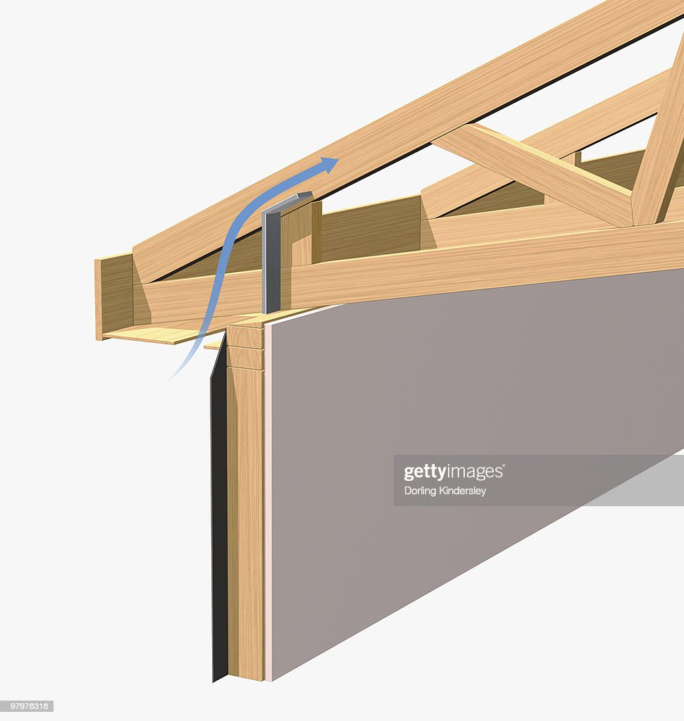 Scissor truss on roof closeup stock illustration getty for Roof truss sign