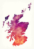 Scotland watercolor map in front of a white background
