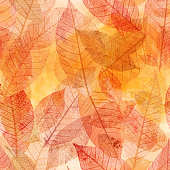 A seamless background pattern of golden painted skeleton leaves, autumnal repeat print