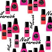 Seamless nail varnish polish pattern fashion background