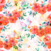 A seamless pattern of a watercolor drawing of a bouquet of flowers with branches of leaves and butterflies, a freehand sketch on a pastel background, an abstract repeat print