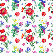 Seamless pattern from bouquets of summer wildflowers and butterflies, watercolor illustration. Flower watercolor background for fabrics, postcards, etc.
