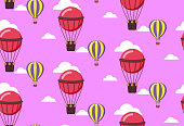 seamless pattern of balloons in pink
