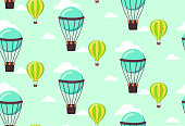 seamless pattern of balloons in blue scale