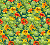 Seamless pattern with red and yellow nasturtium flowers and leaves painted with watercolor. Suitable for backgrounds, textile, wrapping paper.