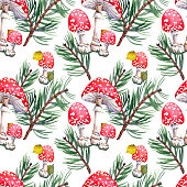 Seamless pattern with pine branches, fly agaric mushrooms and leaves. Forest illustration. Watercolor on white background.
