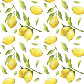 Seamless pattern with watercolor lemons and green leaves isolated on white background. For design, print, textile and more
