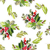 Seamless watercolor Christmas pattern with berries and spruce