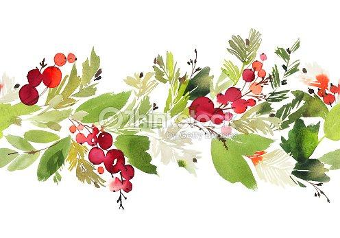 Aquarell weihnachten musterdesign mit beeren und fichte - Aquarell weihnachten ...