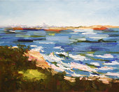 Seascape painting of Moreton Bay Queensland with Glass House Mountains in the distance. Painted from North Stradbroke Island.
