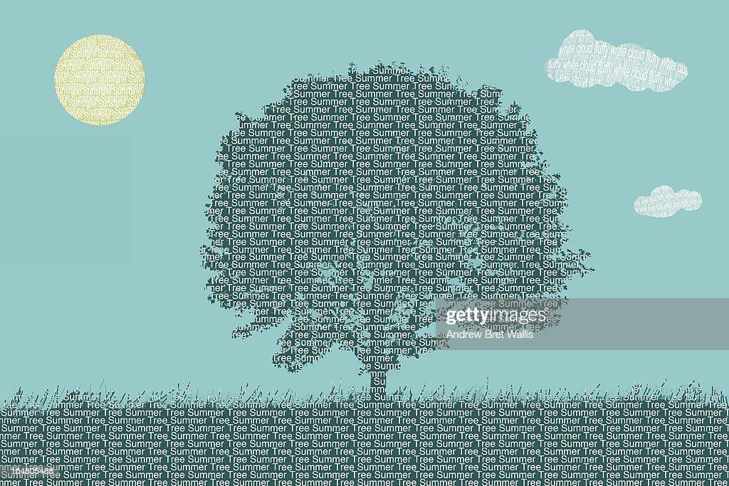 Seasonal Summer tree shaped from typeface text : Stock Illustration
