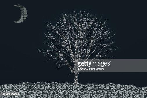 Seasonal Winter tree shaped from typeface text : Stock Illustration