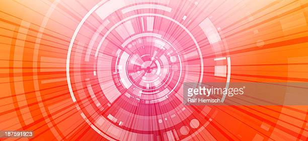 Segmented shapes between a diminishing perspective of concentric circles