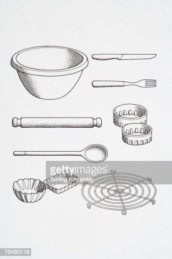 selection of cooks kitchen utensils including knife fork