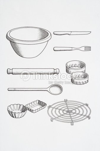 Selection Of Cooks Kitchen Utensils Including Knife Fork Pastry Cutters Wire Rack Party Tins Rolling Pin Wooden Spoon Line Drawing