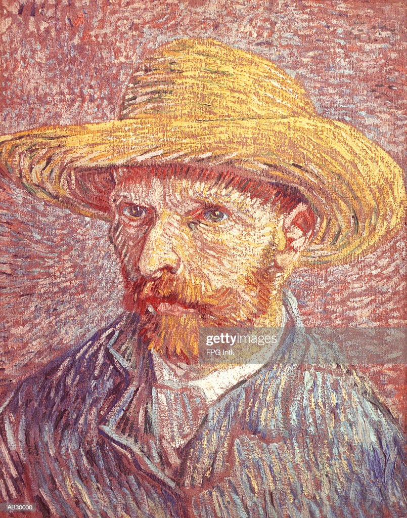 Self-portrait of Vincent van Gogh in a Straw Hat : Stock Illustration