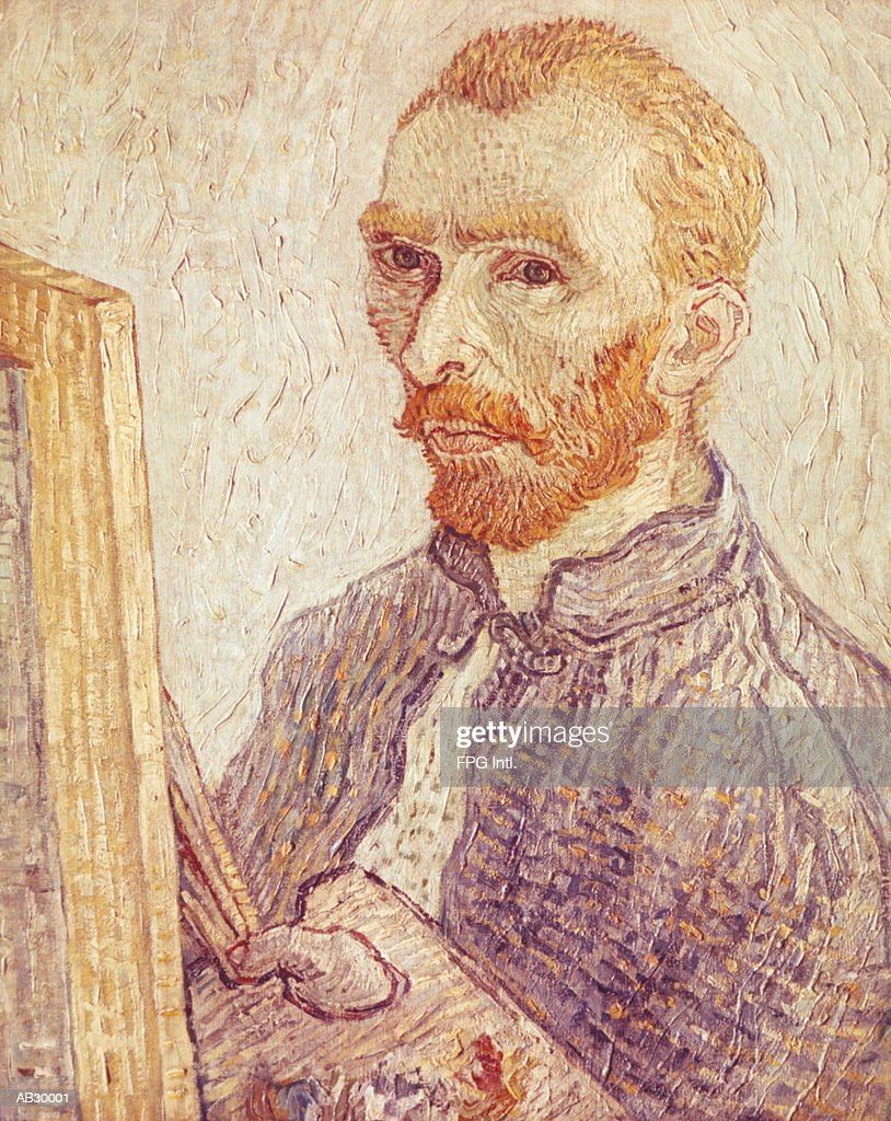 Self-portrait of Vincent Van Gogh with Paintbrushes and Easel : Stock Illustration