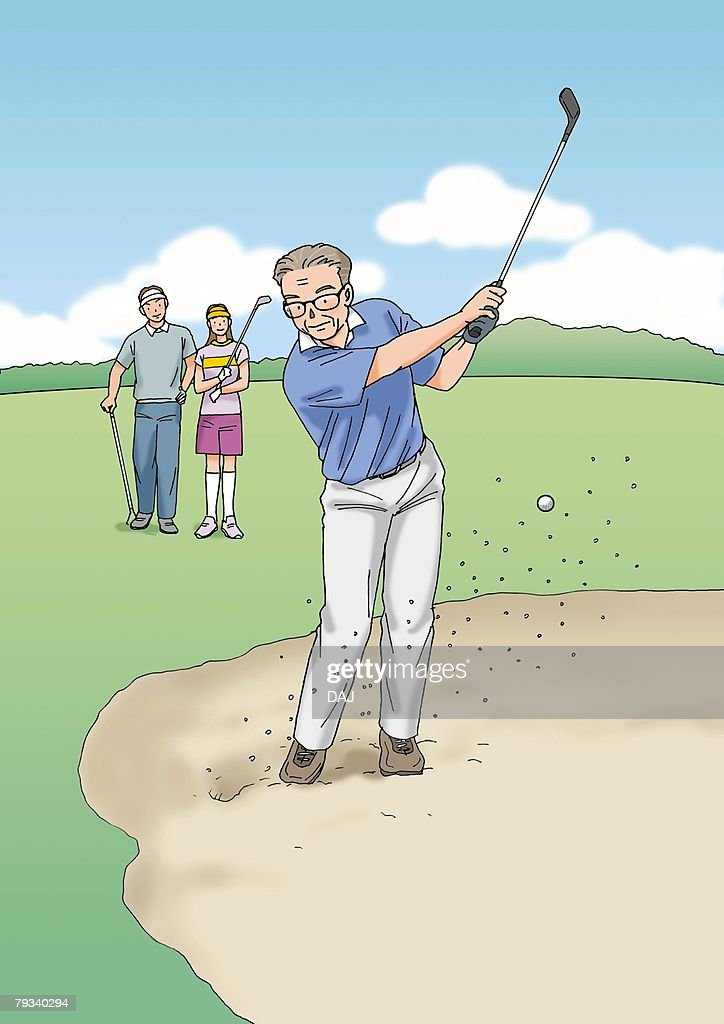 Senior adult man playing golf, Illustration, Front View : Stock Illustration