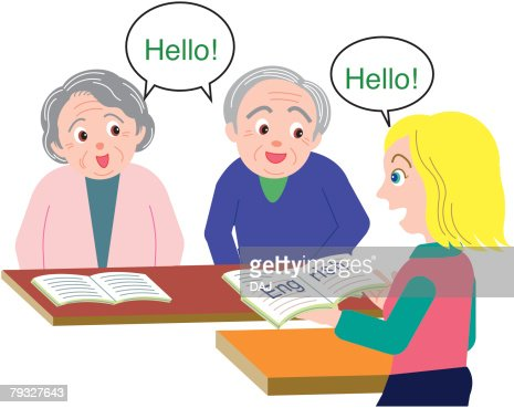 Senior man and woman learning English in the class : Vector Art