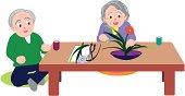 Senior man and woman sitting at table, woman enjoying Japanese flower arrangement, front view