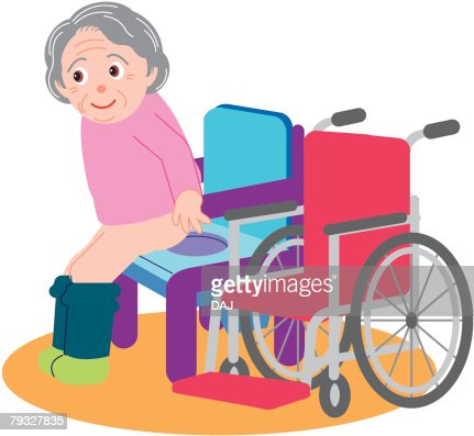 Senior woman trying to sit down on toilet in the room, side view : Vector Art